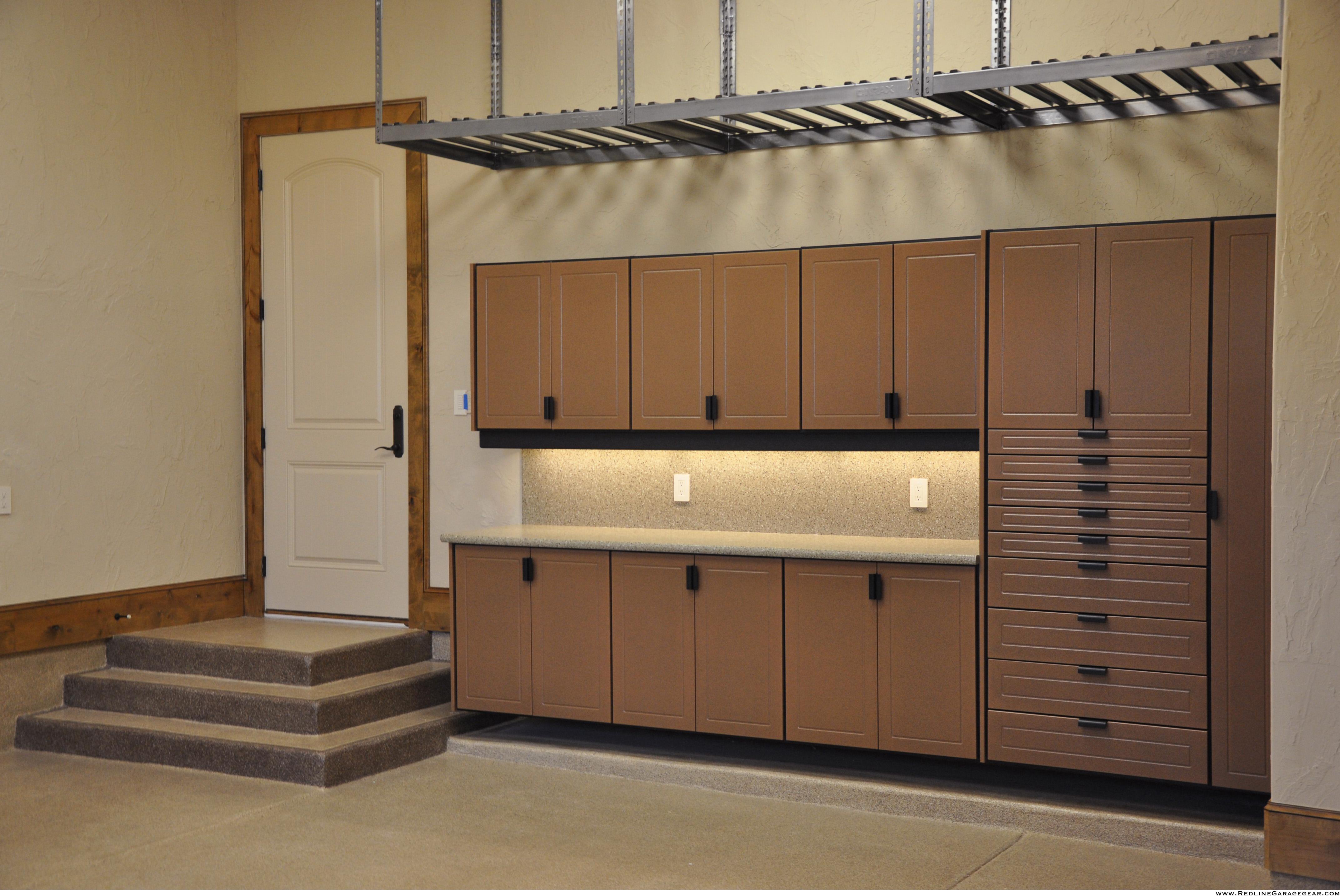 brown garage cabinets